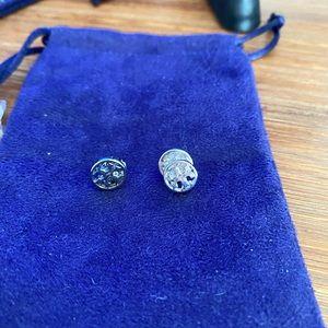 Tory Burch Silver Stud Logo earrings